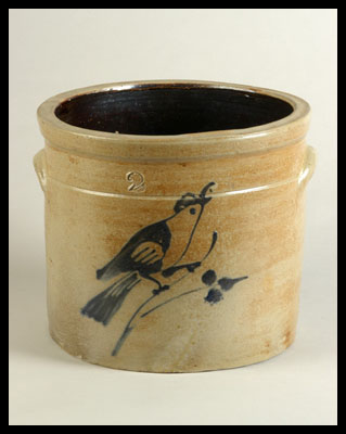 Stoneware Crock with Bird Decoration