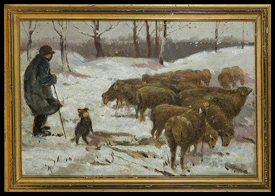 Shepherd Tending His Flock - Geofrey Strahan (Canadian)